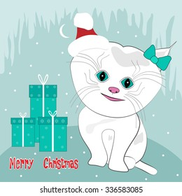 Cute kitten with gifts. Christmas cards and invitations. Vector illustration