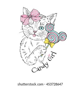 cute kitten girl with candy, hand drawn animal illustration