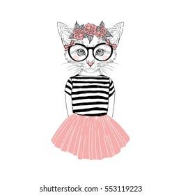 cute kitten girl, furry art illustration, fashion animals