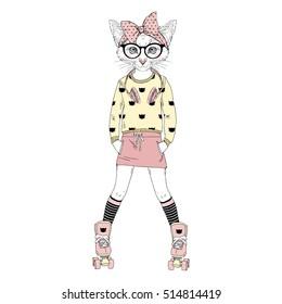 cute kitten girl on rollers, anthropomorphic illustration for kids