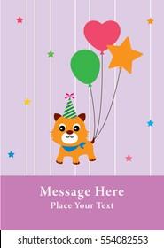 cute kitten happy birthday greeting card