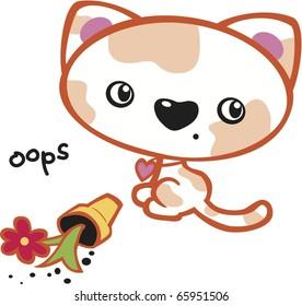 Cute Kitten with Orange Spots and Flowerpot