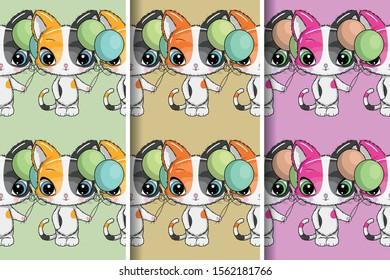 cute kitten pattern set. Design for party card, print, poster. Pet vector illustration.
