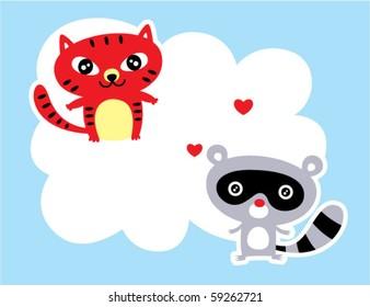 cute kitten and raccoon love tag