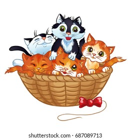 Cute kittens in the basket, vector cartoon illustration. Isolated on a white background.