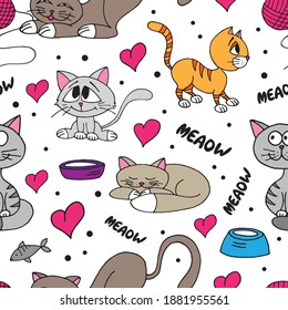 Cute kittens, cats, hanks and hearts seamless pattern. Vector illustration.
