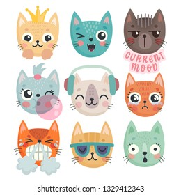 Cute kittens. Characters with different emotions - joy, anger, happines and others. Vector illustration.