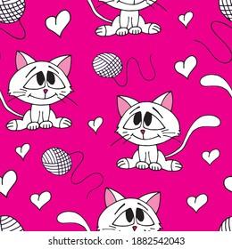 Cute kittens, hanks and hearts seamless pattern. Vector illustration.