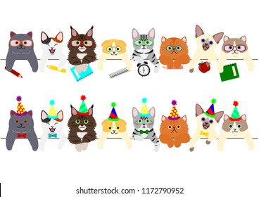 cute kitties border set with school items and with party hats and ties