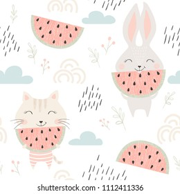 Cute kitty and bunny seamless pattern with watermelon. Summer time print. Sweet cat and rabbit with fruit. Fashion child vector. Cool scandinavian illustration