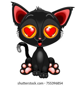 Cute Kitty Cartoon Character in love, with big hearts on eyes, ready for Valentine's Day, and looking very happy! Vector Illustration