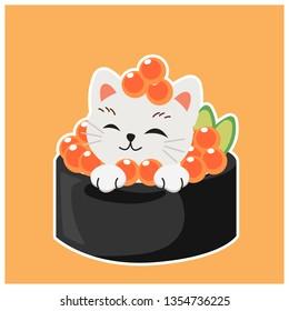 cute kitty cat in sushi, Salmon egg sushi.