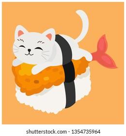 cute kitty cat in sushi, tempura shrimp sushi, fried shrimp sushi.