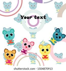 Cute kitty cat vector illustration, childish design, cartoon character, vector background.