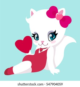 Cute kitty in pin-up style with heart in hand for Valentine's day. Greeting card.