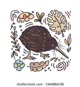 Cute kiwi bird with floral elements around him. Vector illustration in doodle cartoon linear style.