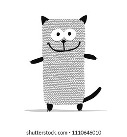 Cute knitting cat, sketch for your design. Vector illustration