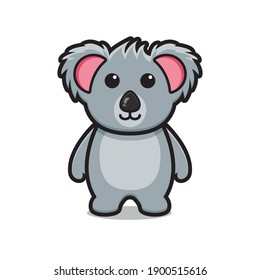 Cute koala animal mascot character cartoon vector icon illustration. Animal mascot icon concept isolated vector. Flat cartoon style