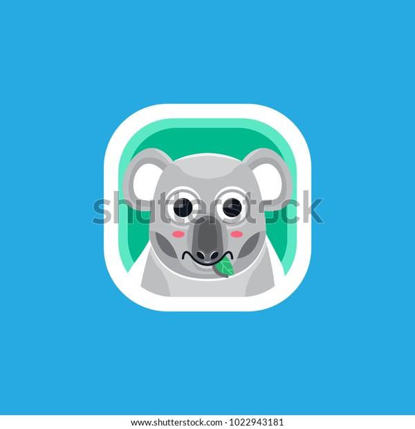 Cute Koala App Icons Logo Illustration Stock Vector (Royalty