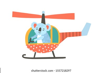 Cute koala bear flying helicopter flat vector illustration. Adorable exotic animal in aerial transport cartoon characters. Adventure and travel concept. Kawaii childish t shirt print.