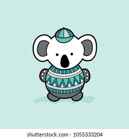 Cute koala bear with a green and grey multi-colour patterned jumper vector illustration on a pale background.