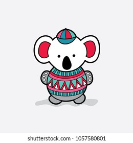 Cute koala bear with a red and green patterned jumper vector illustration on a pale grey background.