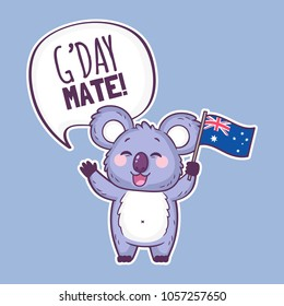 Cute koala character holding an Australian flag and saying G'day mate! Cute cartoon sticker with koala bear. Australia day vector illustration.