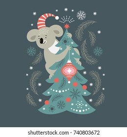 cute koala, Christmas illustration