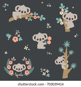 Cute koala in different poses: climbing on a tree, laying on a branch, holding flowers, etc. Set/collection/bundle of vector koalas