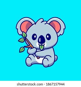 Cute Koala Eating Leaf Cartoon Vector Icon Illustration. Animal Nature Icon Concept Isolated Premium Vector. Flat Cartoon Style