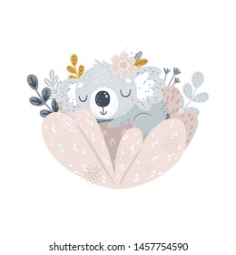 Cute koala and flowers Baby sleeping animal print Pastel colors Printable art Animal clipart