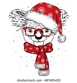 Cute koala with glasses, hat and scarf. Vector illustration. Scarf, hat and glasses. Postcard or poster. Print on clothes. New Year's and Christmas. Bear.
