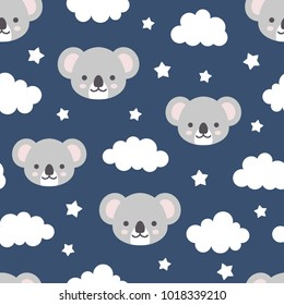Cute Koala Good Night Seamless Pattern, Sweet Dream Animal Background with Clouds for Kids