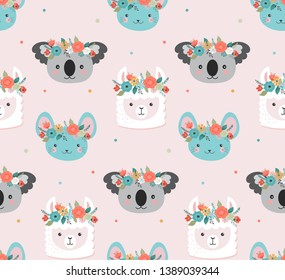 Cute koala, llama and mouse heads with flower crown, vector seamless pattern design for nursery, poster, birthday greeting card