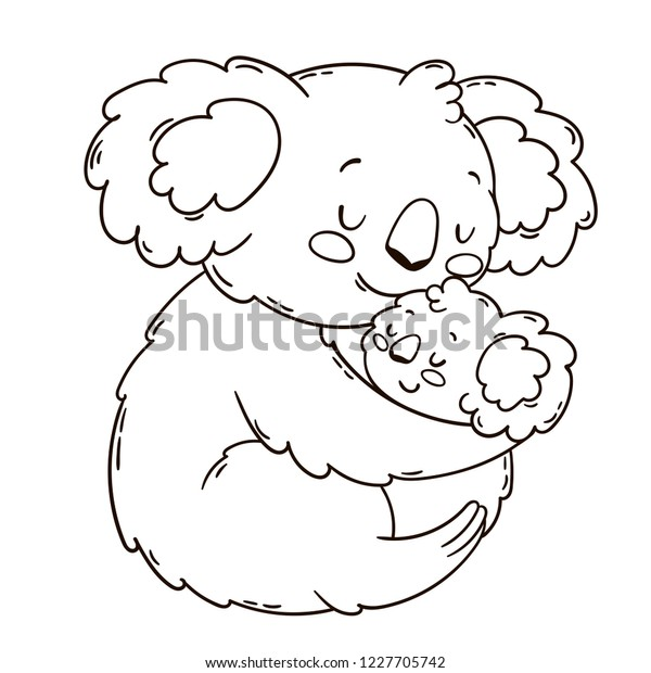 Cute Koala Mother Baby Black White Stock Vector Royalty Free 1227705742