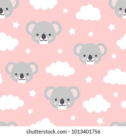 Cute Koala Seamless Pattern, Animal Background with Clouds for Kids