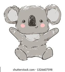 Cute koala sitting isolated on white background vector illustration.