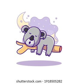 Cute Koala Sleeping on tree World Sleep Day Vector Icon Illustration in Flat Cartoon style for Web Landing Pages with Banner or Sticker and Background
