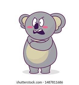 Cute koalas with an angry expression vector illustration