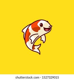 Cute Koi Fish Logo Cartoon