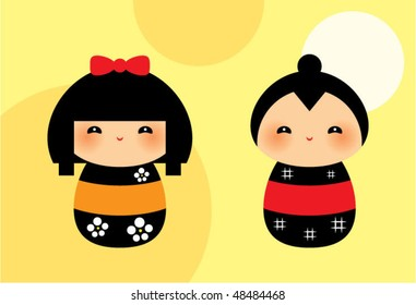 cute kokeshi couple