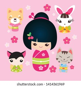 Cute Kokeshi Doll with animal