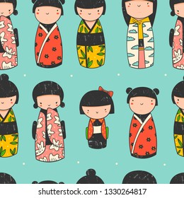 Cute Kokeshi dolls. Various characters. Traditional japanese toys. Kawaii illustration. Hand drawn colored vector seamless pattern. Stamp texture. Green background