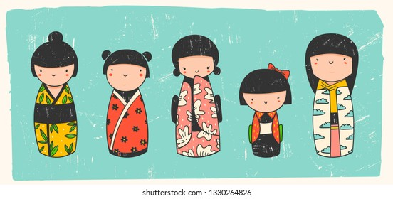 Cute Kokeshi dolls. Various characters. Traditional japanese toys. Kawaii illustration. Hand drawn colored vector set. Stamp texture. All elements are isolated