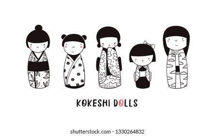 Cute Kokeshi dolls. Various characters. Traditional japanese toys. Kawaii illustration. Hand drawn graphic vector set. All elements are isolated