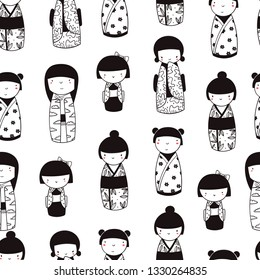 Cute Kokeshi dolls. Various characters. Traditional japanese toys. Kawaii illustration. Hand drawn graphic vector seamless pattern