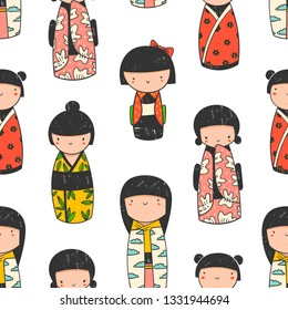 Cute Kokeshi dolls. Various characters. Traditional japanese toys. Kawaii illustration. Hand drawn colored vector seamless pattern. Stamp texture
