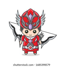 Cute Korean Hero Red Archery Male Kawaii Stands With Bow Weapon and Red Armor Costume.  Bowman Mascot Character Cartoon.  Vector Illustration, Flat Design Concept White Background