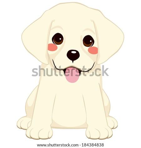 Cute Labrador Golden Retriever Puppy Illustration Stock Vektorgrafik
