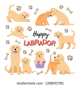 Cute Labrador puppies set. Dog and cat friendship vector isolated. Purebred  small retrievers illustration. Happy pets playing